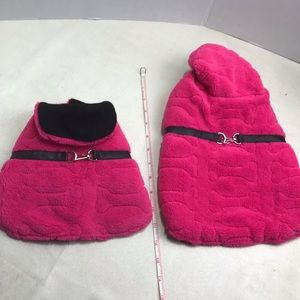 Dog Pet Animal Jacket Coat Pink Black Faux Fur